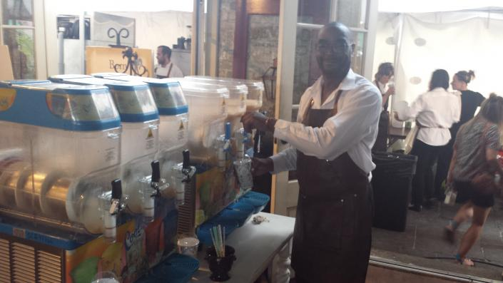 [Image: Louisiana Speciality Drinks set up the frozen daiquiri machines once the client rented their frozen drink machine.  Now serving  your favorite frozen drinks come get them. ]