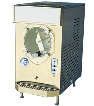 [Image: This high production frozen beverage machine has a production rate of 10 gallons per hour (130 10-ounce drinks), a lighted flavor sign and a stand-by switch for overnight refrigeration.   We offer the air-cooled version of this unit for rental. Please contact our sales department for details about the water-cooled unit.